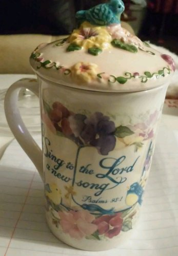 2003 LADY JAYNE Ltd FLOWER  MUG Cup with top 2 Piece