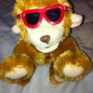 "Chrisha Playful Tan Brown Monkey Whistles Red Sunglasses 6"" Plush Stuffed Toy"