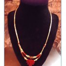 Vintage Handmade Native American Silver Tone w/ Red Beds Necklace