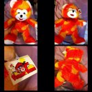 """***INCREDIBLY RARE***   Orange and Yellow """"Bear made by Funny Farm/toy Barn"""