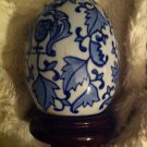 Vtg Large Blue & White Chinese Porcelain Like Egg W/attached Stand