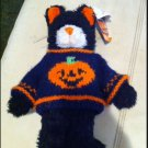 Halloween black Cat orange pumpkin On Navy sweater Plush stuffed animal Midnight