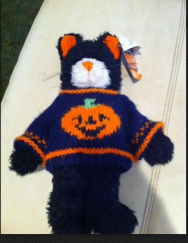 Halloween black Cat orange pumpkin On Navy sweater Plush stuffed animal Midnight
