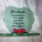 Vintage Decorative plaque Grandmother poem thick Heart glass silk floral