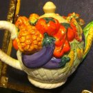Collectible Vegetable Teapot Corn, Carrots, Eggplant