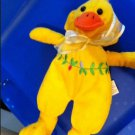 Plush Yellow Duck Beanie With Beautiful Embroirdered Flowers
