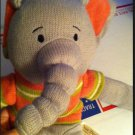Adorable Dan Dee EARTHRITE Gray Pink Green Sweater SOCK ELEPHANT Knit Plush Toy