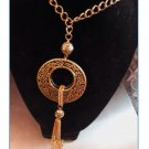 Gorgeous!!!GOLDEN CIRCLE RING w/TASSEL PENDANT NECKLACE