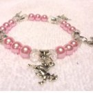 Horse Pony Animal Charm Bracelet with Glass Pearls and Swarovski Crystals