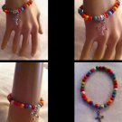 Handmade Comfort cross Multicolor bead  bracelet; Detailed Cross Charm