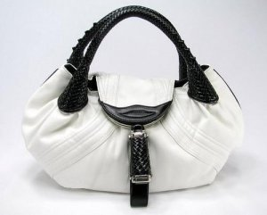 WHITE BROWN DETECTIVE SPY HANDBAG HOBO PURSE TOTE BAG