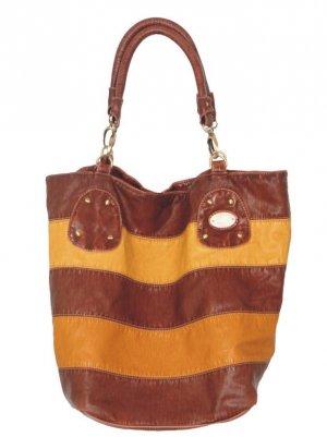 Tan Yellow Stripe Bucket Hobo Handbag Tote Purse Bag