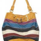 Yellow Mixed Stripe Buckle Hobo Handbag Tote Purse Bag