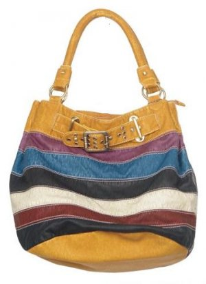 Yellow Mixed Stripe Buckle Hobo Handbag Tote Purse Bag
