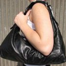 Solid Black Horsebit Hobo Handbag Tote Purse Bag