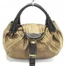 Gold Brown Braid Handle Spy Handbag Tote Purse Bag