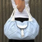 Baby Blue White Braid Handle Spy Handbag Tote Purse Bag