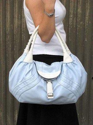 Baby Blue White Braid Handle Spy Handbag Tote Purse Bag