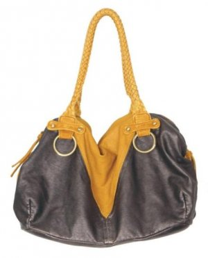 Metallic Pewter Stone Wash Hobo Tote Handbag Purse Bag