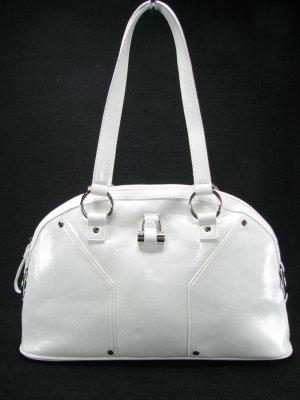 Patent White Bowler Dome Tote Handbag Purse Bag by Vani