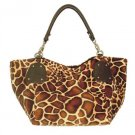 Large Leopard Print Patch Hobo Tote Handbag Purse Bag