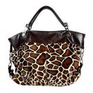 Large Leopard Print Clasp Hobo Tote Handbag Purse Bag