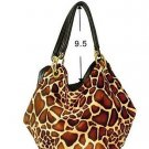 Faux Giraffe Skin Hobo Bucket Tote Handbag Purse Bag