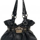 Black Crown Rhinestone Hobo Tote Handbag Purse Bag
