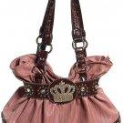 Pink Brown Crown Rhinestone Hobo Tote Handbag Purse Bag