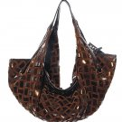Brown Bronze Inter - Woven Hobo Tote Handbag Purse Bag