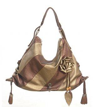 Bronze Gold Stripe Flower Hobo Tote Handbag Purse Bag