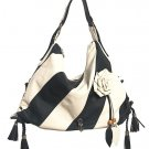 Black White Stripe Flower Hobo Tote Handbag Purse Bag