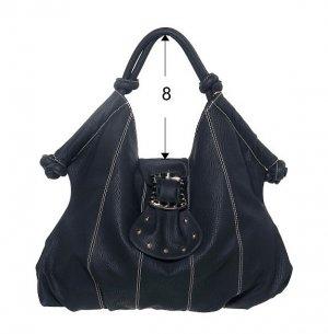 Black Buckle Flap Hobo Tote Handbag Purse Fashion Bag