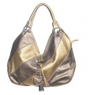 Silver Gold Stripe Heart Hobo Tote Handbag Purse Bag