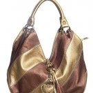 Bronze Gold Stripe Heart Hobo Tote Handbag Purse Bag