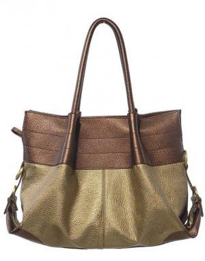 Bronze Gold Metal Bucket Tote Handbag Purse Fashion Bag