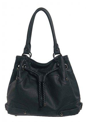Black Braided Drawstring Handbag Purse Fashion Bag