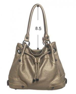 Metallic Gold Braided Draw Handbag Purse Fashion Bag