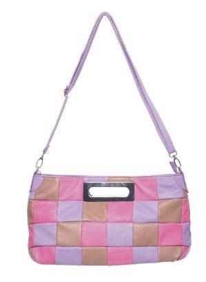 Faux Leather Pink Purple Satchel Handbag Purse Bag
