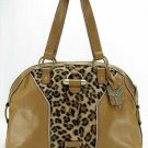 Camel Tan Leopard Suede Dome Handbag Purse Hobo Bag