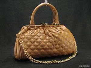 Camel Tan Quilted Chain Stam Handbag Tote Purse Bag