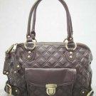 Dark Brown Quilted Elise Venetia Handbag Tote Purse Bag