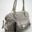 Ash Gray Quilted Elise Venetia Handbag Tote Purse Bag