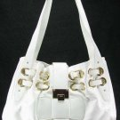 White Ramona Handbag Fashion Tote Purse Bag w/ Gold