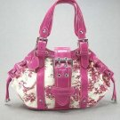 Pink Spring Floral Handbag Canvas Fashion Satchel Bag