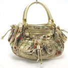 Gold Floral Flower Hobo Tote Handbag Purse Fashion Bag