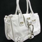 Large White Button Hook Tote Handbag Purse Fashion Bag
