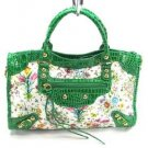 Green Le Dix Flower Hobo Tote Handbag Purse Fashion Bag
