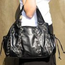 Black Lucy Marcelle Drawstring Tote Handbag Purse Bag