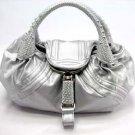 Metallic Silver Spy Tote Handbag Purse Fashion Bag